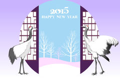 Oriental new year card background with crane birds - eps10 vector Royalty Free Stock Images