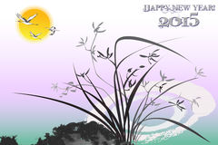 Oriental new year card background with orchid ink paintings - eps10 vector Royalty Free Stock Images