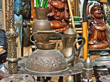 Oriental old metal utensil Stock Images