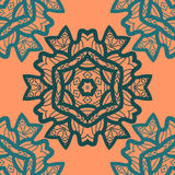 Oriental ornament pattern in orange color. Vector decorative background with stylized floral geometric ornament Stock Photography