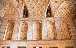 Oriental ornamented wall inside of Ali Qapu Palace. Esfahan, Iran Stock Photography