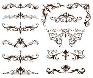 Oriental ornaments borders decorative elements with corners curls Arab and Indian patterns and frame. Oriental ornaments borders decorative elements with corners Stock Photo