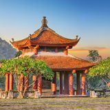 Oriental pagoda during sunrise Royalty Free Stock Images