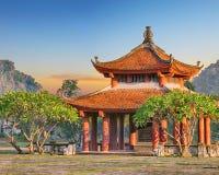 Oriental pagoda during sunrise Royalty Free Stock Photos