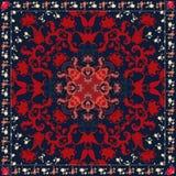 Oriental paisley natural ornament with floral frame. Carpet, cushion, bandana print, napkin, doily. Packaging design. Ethnic motives stock illustration