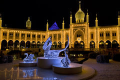 Oriental palace by night in Tivoli Gardens, Copenhagen. Stock Photography
