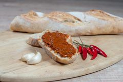 Oriental paste on bread slice on wooden board with ingredients royalty free stock photos