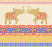 Oriental pattern with elephants Stock Photos