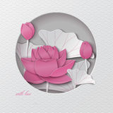 Oriental pattern greeting card with cut round frame and floral background with pink lotus flowers decoration. Vector illustration, paper cut out art style stock illustration