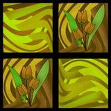 Oriental pattern modern elements flowers of tulips texture backg Stock Photos