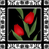 Oriental pattern modern elements with flowers of tulips texture Stock Images