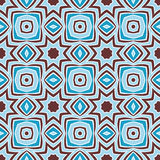 Oriental Pattern. Seamless ethnic pattern. Abstract geometric elements on tribal arabic ornament. Blue and brown colors. Endless background Royalty Free Stock Photography