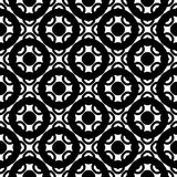 Oriental pattern, simple rounded figures, rings, circles. Vector monochrome texture, black & white geometric seamless pattern. Square illustration with simple Stock Images
