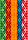 Oriental Pattern. An oriental style pattern in five different colors/style. Final panel of each color left ungrouped as a single swatch, and can easily be used Stock Image
