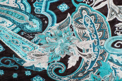 Oriental pattern on textile. Blue oriental patterns on a scarf textile with selective focus Stock Photos