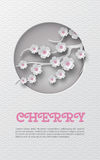 Oriental pattern vertical banner with cut out round frame and floral background with white-pink cherry flowers decoration on the l. Oriental pattern vertical royalty free illustration