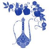 Oriental patterned jugs blue. Oriental traditional patterned jug, Flowering branch and pomegranate fruits as detailed silhouette blue on white background Vector royalty free illustration