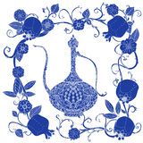Oriental patterned jugs blue. Oriental traditional patterned jug, Flowering branch and pomegranate fruits as detailed silhouette blue on white background Vector stock illustration