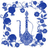 Oriental patterned jugs blue stock illustration