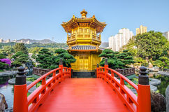 The oriental pavilion of absolute perfection in Nan Lian Garden, Royalty Free Stock Image