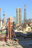 Oriental Pearl and construction sites Stock Photos