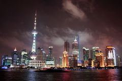 Oriental Pearl Radio and Television Tower protruding the Shanghai skyline on a warm summer night. royalty free stock images
