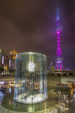 Oriental Pearl Tower and Apple Store Stock Photo