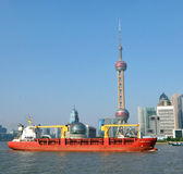 Oriental Pearl Tower and Cargo stock photo