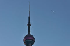 The oriental pearl tower with the moon Royalty Free Stock Photography