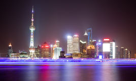 The Oriental Pearl Tower at night in Shanghai Stock Photography