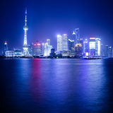 The Oriental Pearl Tower at night in Shanghai Royalty Free Stock Photos