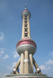 Oriental Pearl Tower - Shanghai TV Station. The TV station tower in Shanghai which is named as Oriental Pearl Tower, the one of landmarks of Shanghai Stock Image
