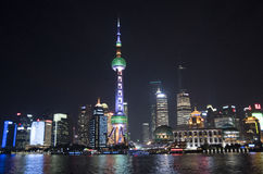 Oriental Pearl Tower at night, Shanghai city Royalty Free Stock Images