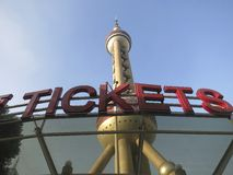 Oriental Pearl Tower with Tickets Sign Royalty Free Stock Images