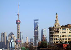 The Oriental Pearl TV Tower. Jin Mao Tower,Financial Center,2010 Shanghai World Expo stock image