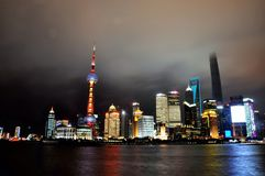 Oriental pearl TV Tower in Shanggai. Oriental pearl TV Tower standing at the Huangpu river Stock Photo