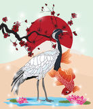 Oriental picture with crane and koi Stock Photo