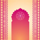 Oriental pink and cream henna temple gate background Royalty Free Stock Images