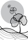 Oriental plant black on white Royalty Free Stock Photo