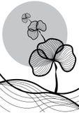 Oriental plant black on white vector illustration