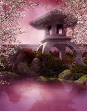 Oriental pond. With a stone lantern Royalty Free Stock Image