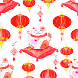 Oriental print with lanterns and lucky cats. Watercolor seamless Stock Photos