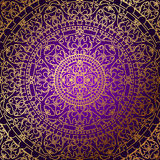 Oriental purple background with gold ornament. Vector oriental purple background with gold ornament Stock Photos