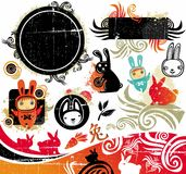 Oriental Rabbit design elements. Cartoon, oriental  set of cute bunnies, grunge design elements. 2011 is the Year of the Rabbit, according to the Chinese Zodiac Stock Image