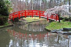 Oriental Red Bridge Stock Photography