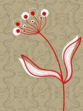 Oriental Red Flower On Taupe