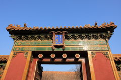 Oriental red gate of Beijing Stock Image