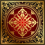 Oriental red & gold rug Stock Photo