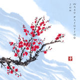 Oriental red sakura cherry tree in blossom and blue sky. Traditional oriental ink painting sumi-e, u-sin, go-hua. Contains hieroglyph - happiness Stock Photography