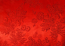 Oriental Red Silk Cloth with Chrysanthemum print background Stock Image